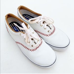 Keds Baseball Stitch Pennant Sneakers Lace Up